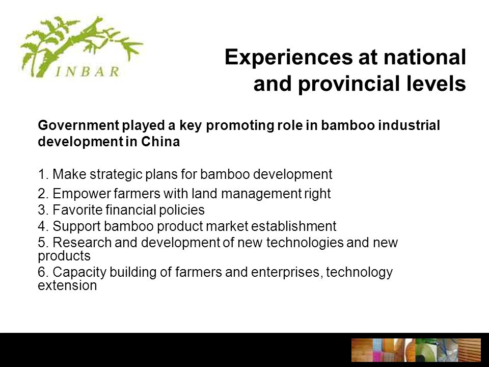 Experiences at national and provincial levels Government played a key promoting role in bamboo industrial development in China 1.