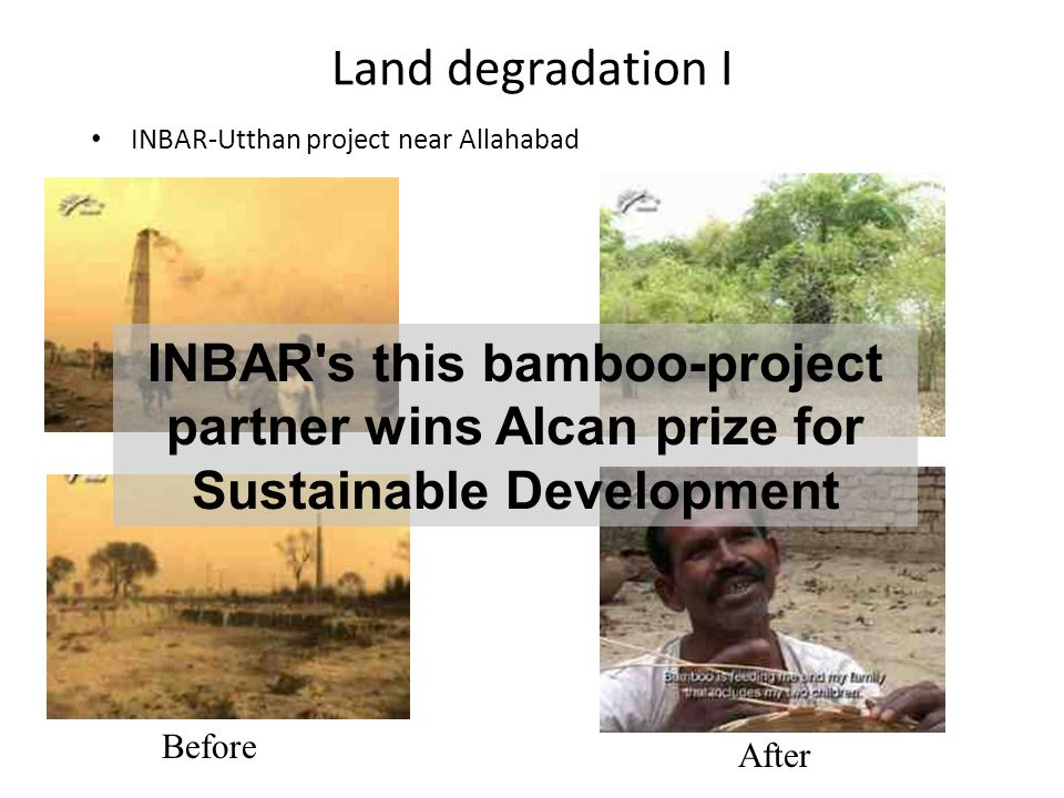 Land degradation I INBAR-Utthan project near Allahabad Before After INBAR s this bamboo-project partner wins Alcan prize for Sustainable Development