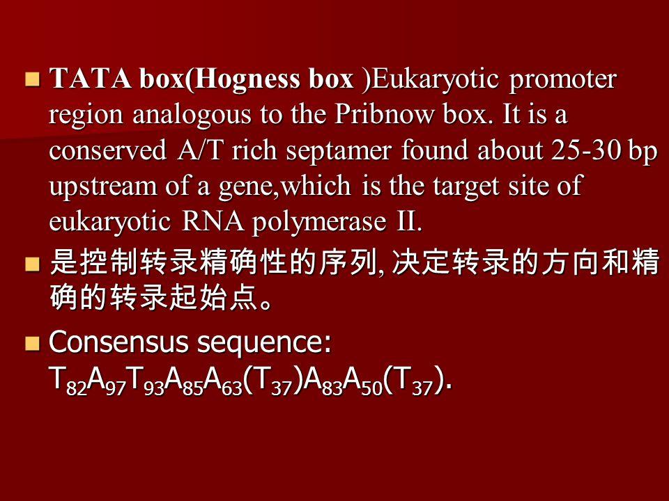 TATA box(Hogness box )Eukaryotic promoter region analogous to the Pribnow box.