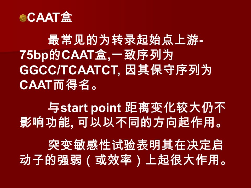 CAAT 盒 最常见的为转录起始点上游 - 75bp 的 CAAT 盒, 一致序列为 GGCC/TCAATCT, 因其保守序列为 CAAT 而得名。 与 start point 距离变化较大仍不 影响功能, 可以以不同的方向起作用。 突变敏感性试验表明其在决定启 动子的强弱(或效率)上起很大作用。