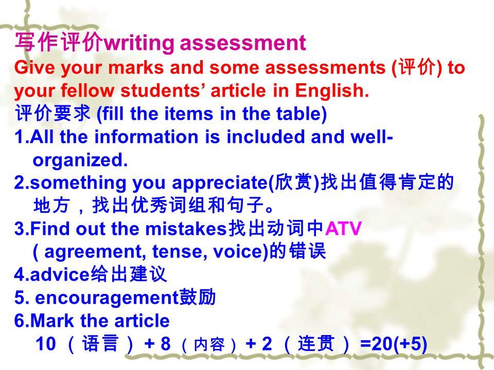 写作评价 writing assessment Give your marks and some assessments ( 评价 ) to your fellow students' article in English.