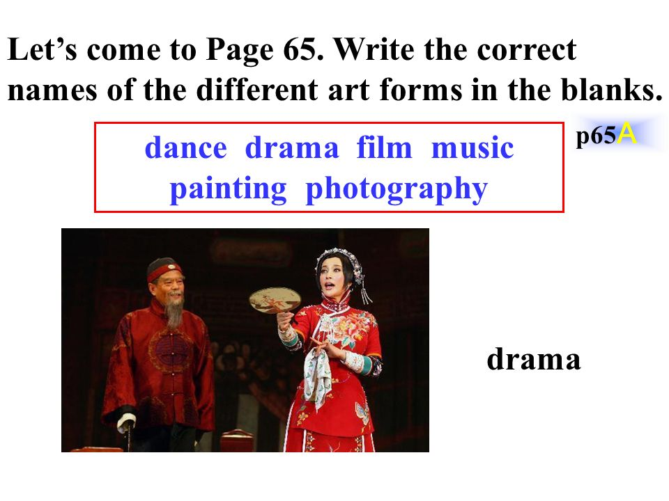 Let's come to Page 65. Write the correct names of the different art forms in the blanks.