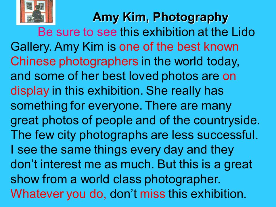 Amy Kim, Photography Amy Kim, Photography Be sure to see this exhibition at the Lido Gallery.
