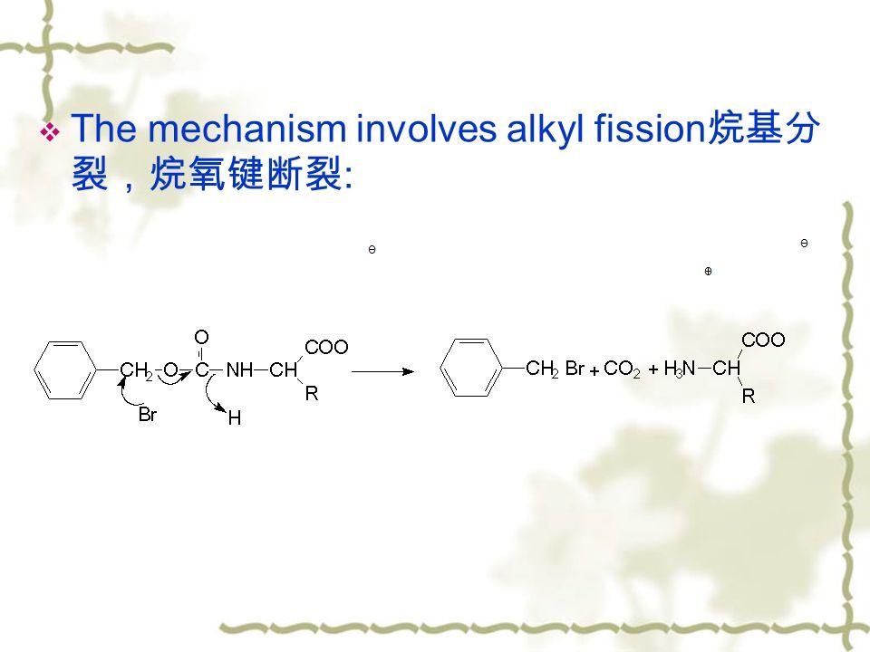  The mechanism involves alkyl fission 烷基分 裂,烷氧键断裂 :