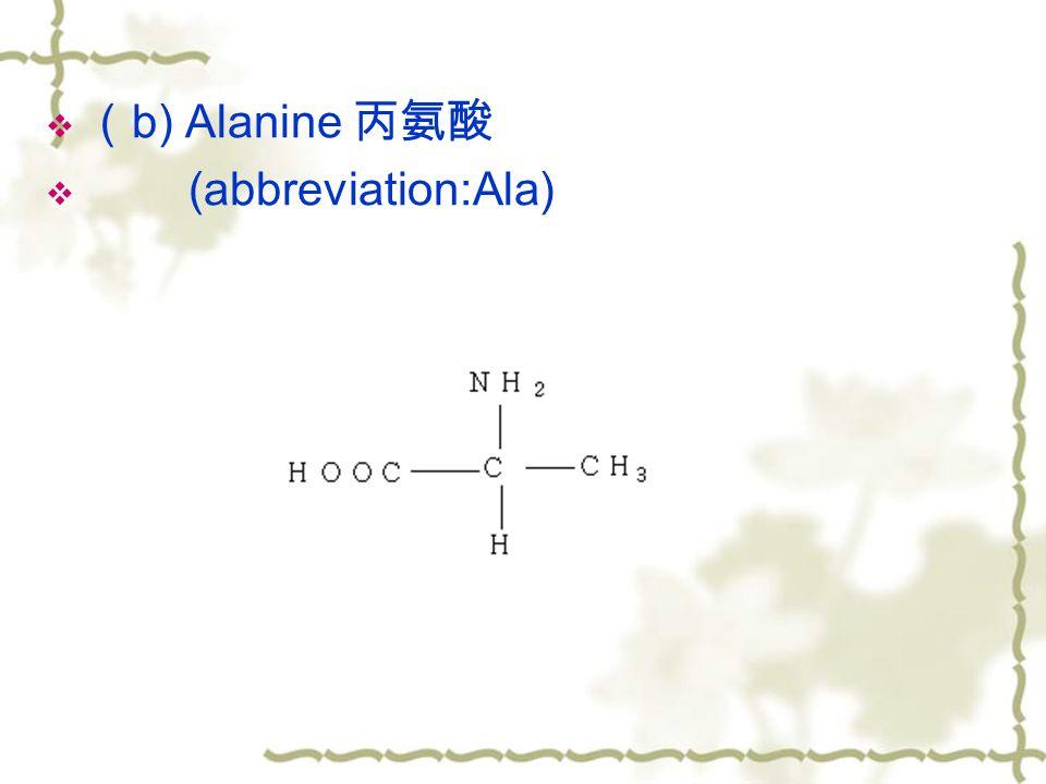  ( b) Alanine 丙氨酸  (abbreviation:Ala)