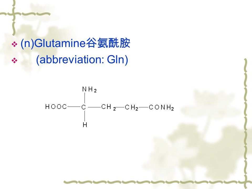  (n)Glutamine 谷氨酰胺  (abbreviation: Gln)