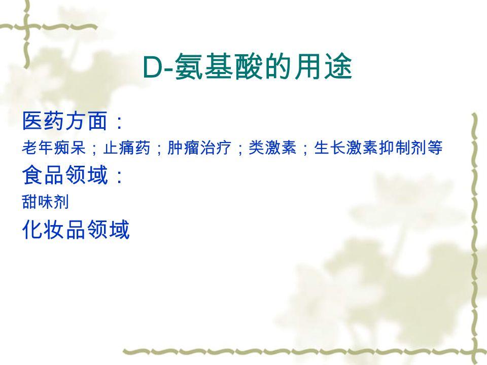 D- 氨基酸的用途 医药方面: 老年痴呆;止痛药;肿瘤治疗;类激素;生长激素抑制剂等 食品领域: 甜味剂 化妆品领域