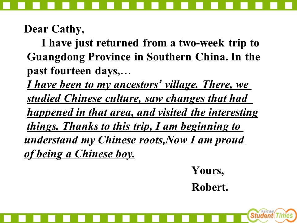 Dear Cathy, I have just returned from a two-week trip to Guangdong Province in Southern China.