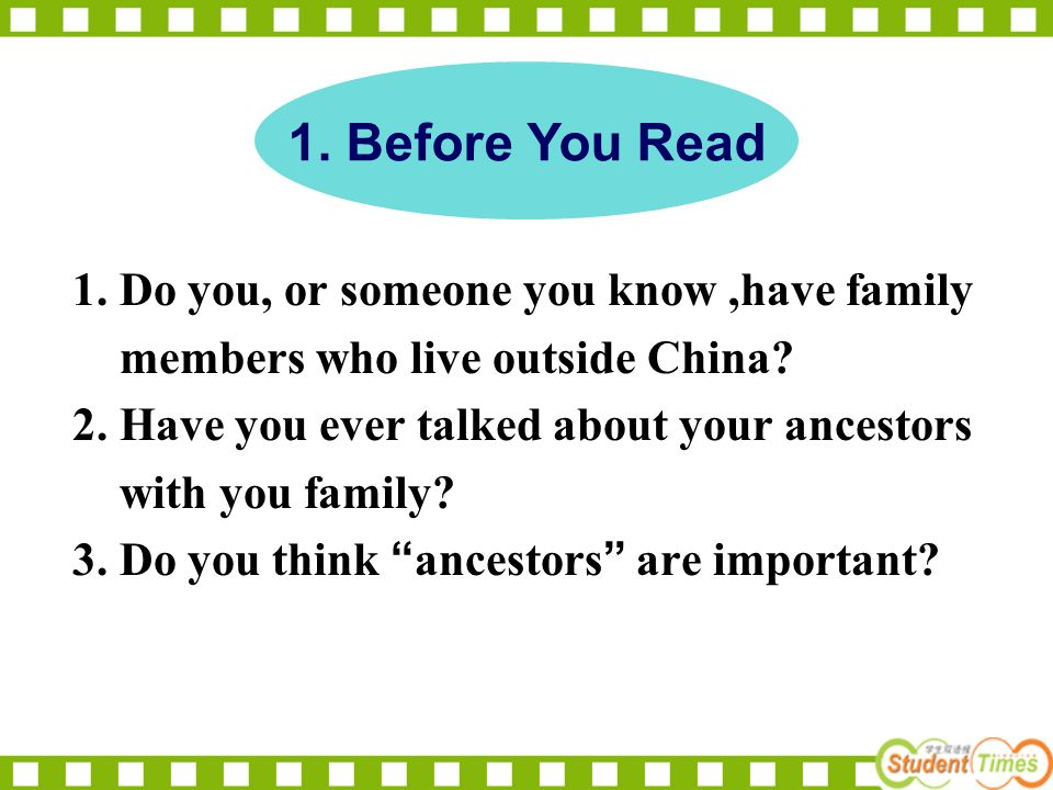 1. Do you, or someone you know,have family members who live outside China.