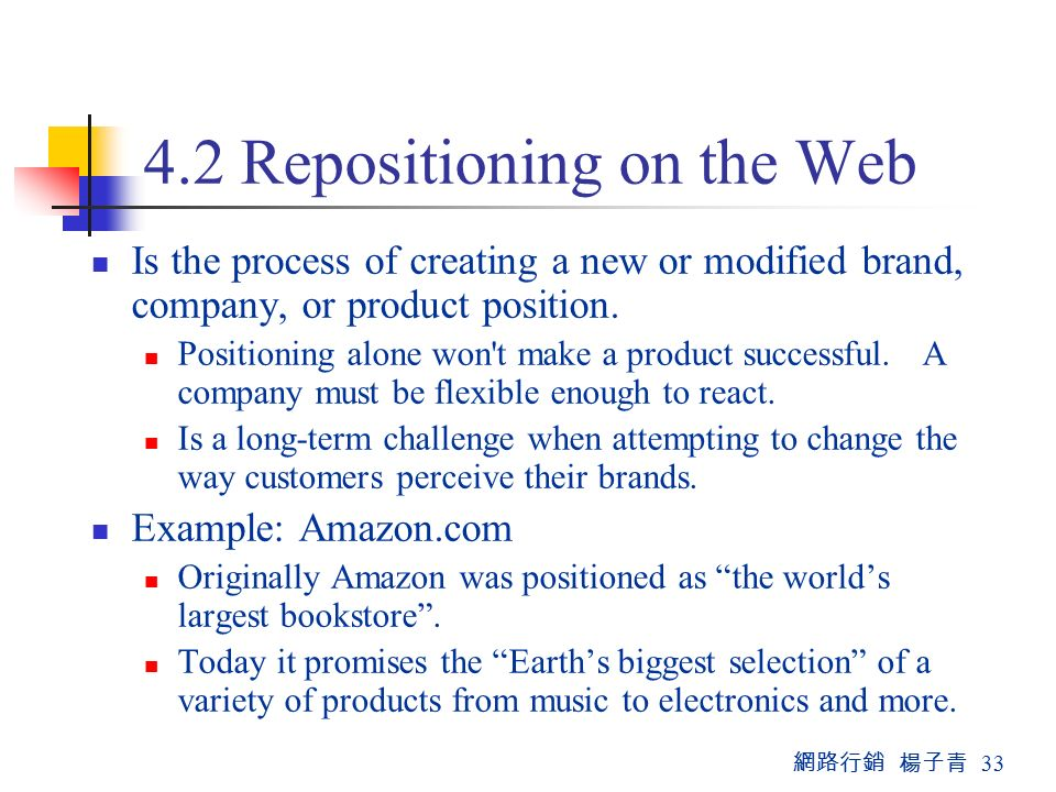 網路行銷 楊子青 Repositioning on the Web Is the process of creating a new or modified brand, company, or product position.