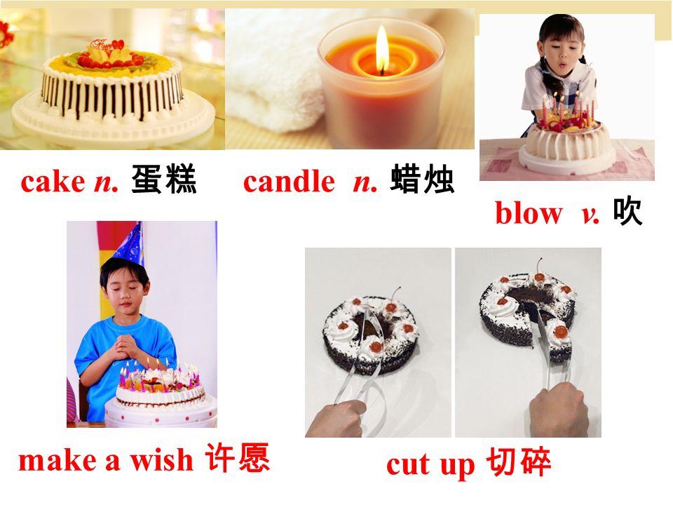 cake n. 蛋糕 blow v. 吹 candle n. 蜡烛 make a wish 许愿 cut up 切碎