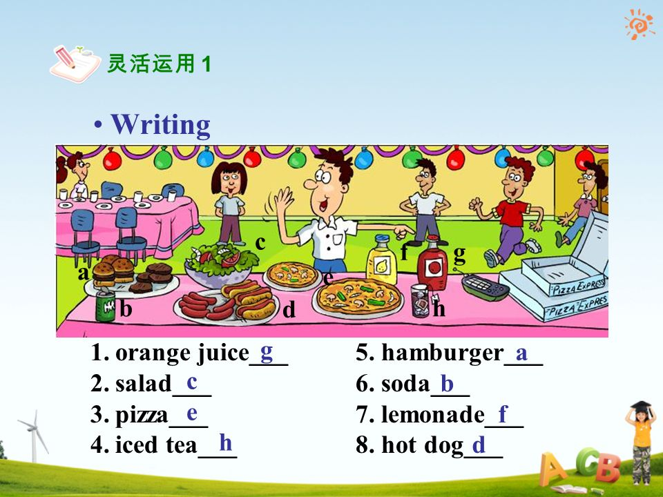 Writing 1.orange juice___ 5. hamburger___ 2.salad___6.