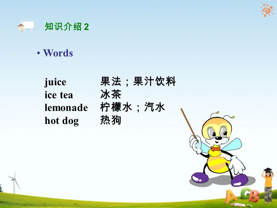 juice 果法;果汁饮料 ice tea 冰茶 lemonade 柠檬水;汽水 hot dog 热狗 Words 知识介绍 2