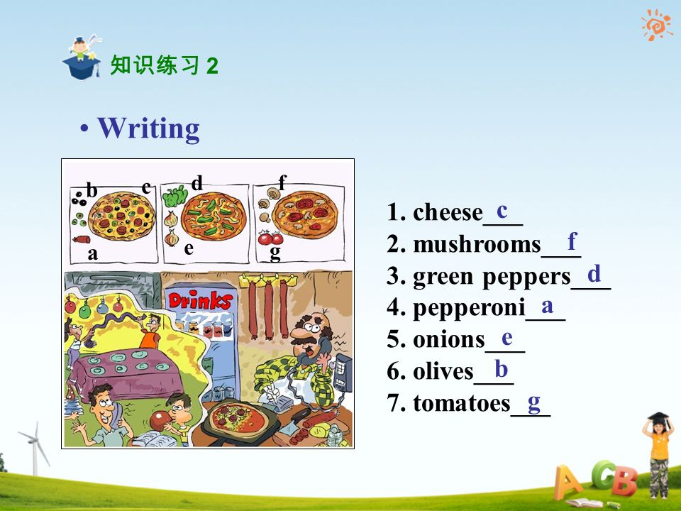 Writing 1. cheese___ 2. mushrooms___ 3. green peppers___ 4.