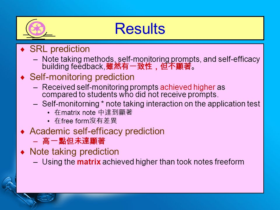 Results  SRL prediction –Note taking methods, self-monitoring prompts, and self-efficacy building feedback, 雖然有一致性,但不顯著。  Self-monitoring prediction –Received self-monitoring prompts achieved higher as compared to students who did not receive prompts.