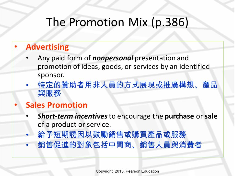 Advertising Any paid form of nonpersonal presentation and promotion of ideas, goods, or services by an identified sponsor.