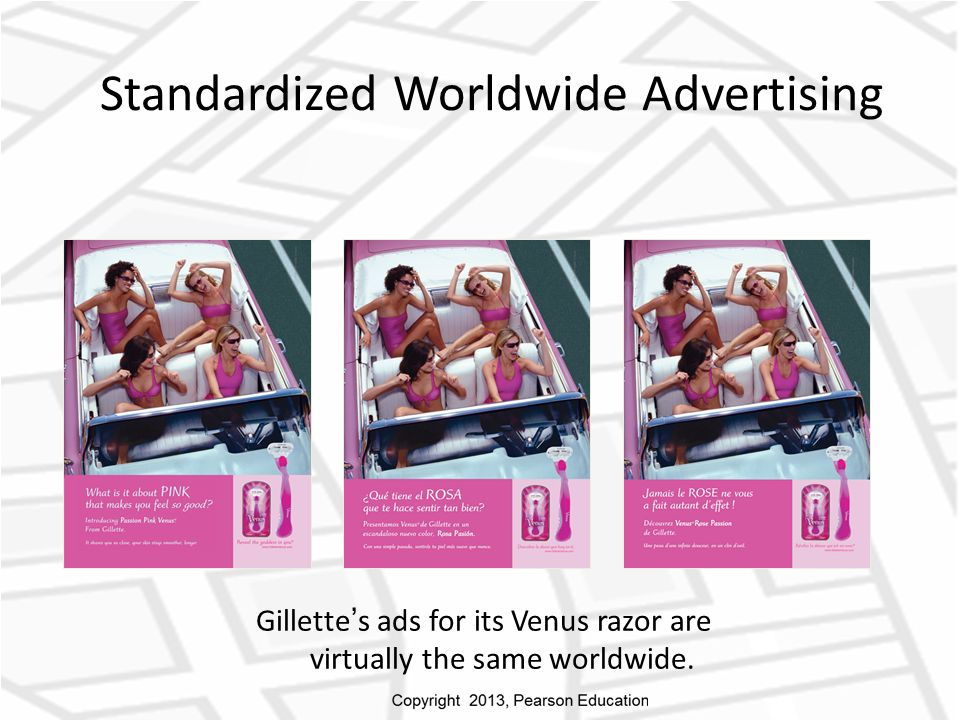 Standardized Worldwide Advertising Gillette ' s ads for its Venus razor are virtually the same worldwide.