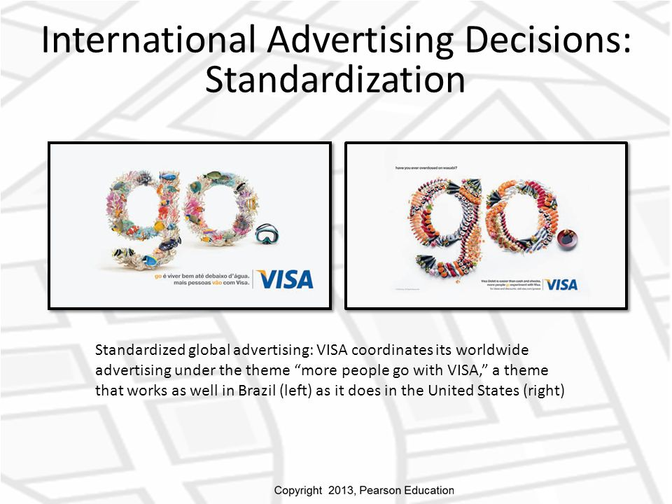 International Advertising Decisions: Standardization Standardized global advertising: VISA coordinates its worldwide advertising under the theme more people go with VISA, a theme that works as well in Brazil (left) as it does in the United States (right)