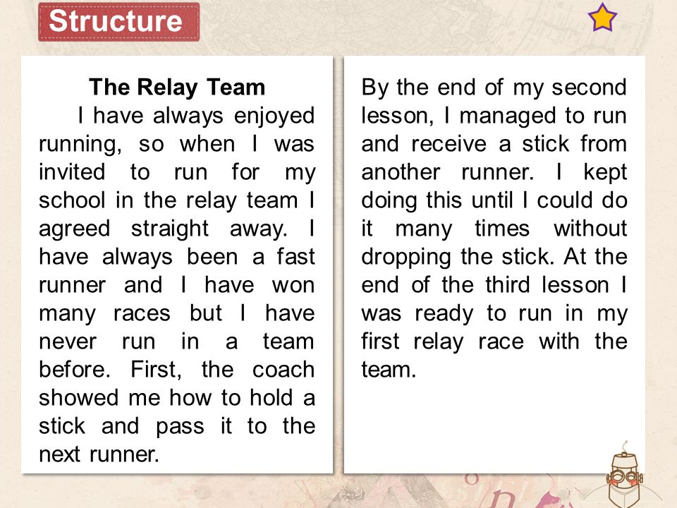 The Relay Team I have always enjoyed running, so when I was invited to run for my school in the relay team I agreed straight away.