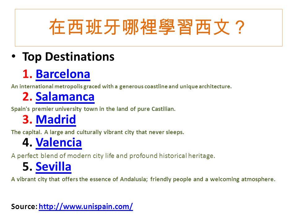在西班牙哪裡學習西文? Top Destinations 1.