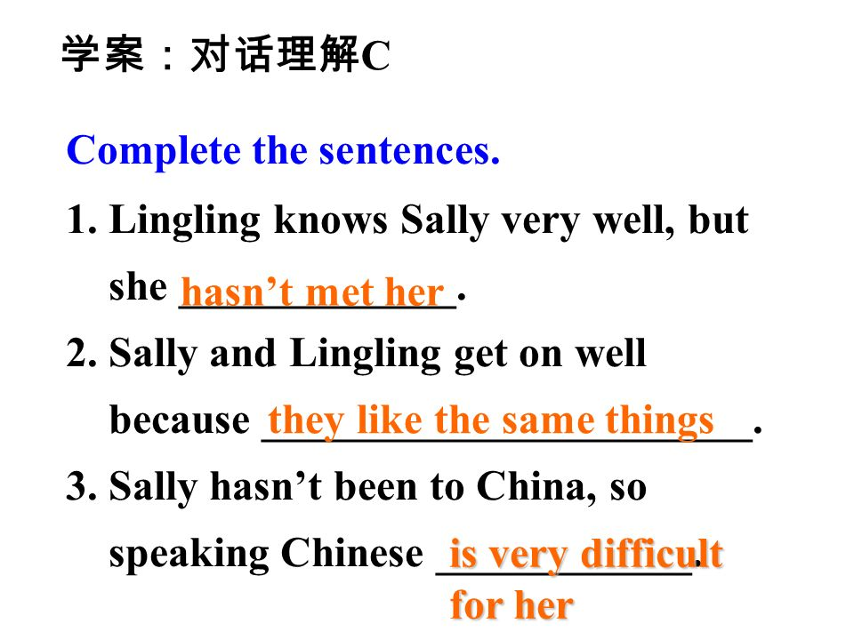 Complete the sentences. 1.Lingling knows Sally very well, but she _____________.