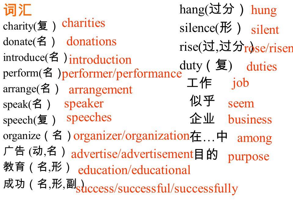 词汇 charity( 复) donate( 名) introduce( 名) perform( 名) arrange( 名) speak( 名) speech( 复) organize (名) 广告 ( 动, 名) 教育(名, 形) 成功(名, 形, 副) charities donations introduction performer/performance arrangement speaker speeches organizer/organization advertise/advertisement education/educational success/successful/successfully hang( 过分) silence( 形) rise( 过, 过分) duty (复 ) 工作 似乎 企业 在 … 中 目的 hung silent rose/risen duties job seem business among purpose