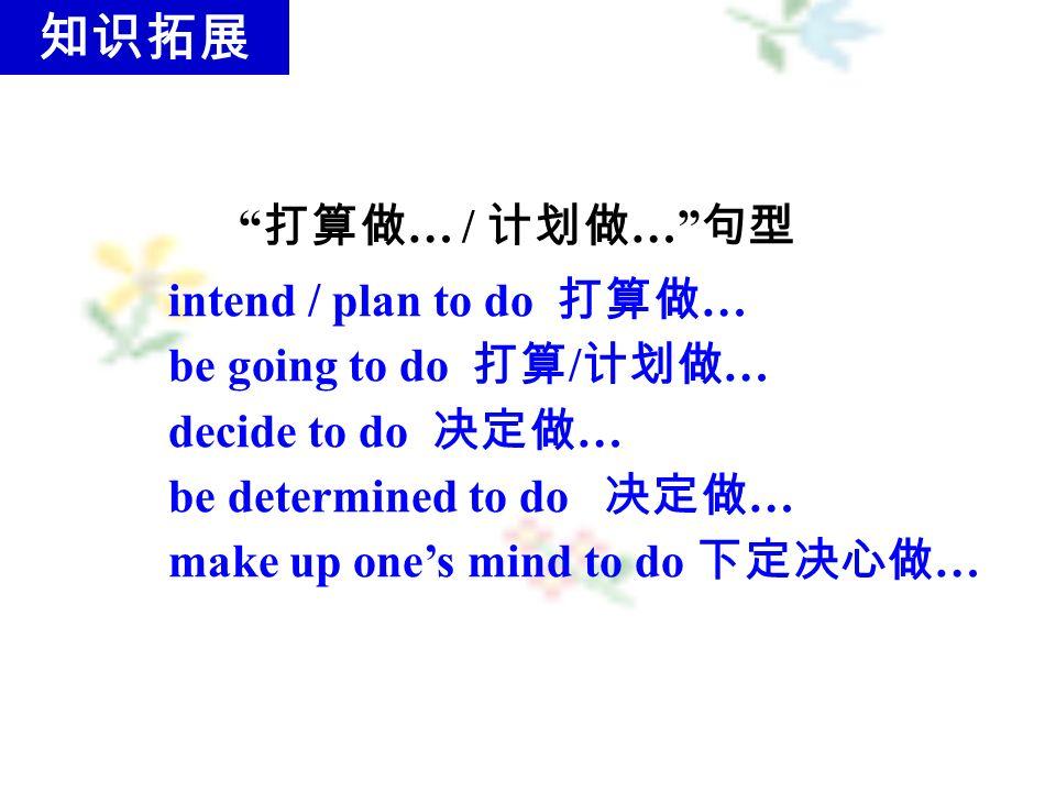 打算做 … / 计划做 … 句型 intend / plan to do 打算做 … be going to do 打算 / 计划做 … decide to do 决定做 … be determined to do 决定做 … make up one's mind to do 下定决心做 … 知识拓展