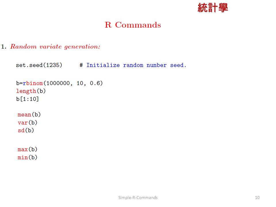 統計學 授課教師:楊維寧 10Simple-R-Commands