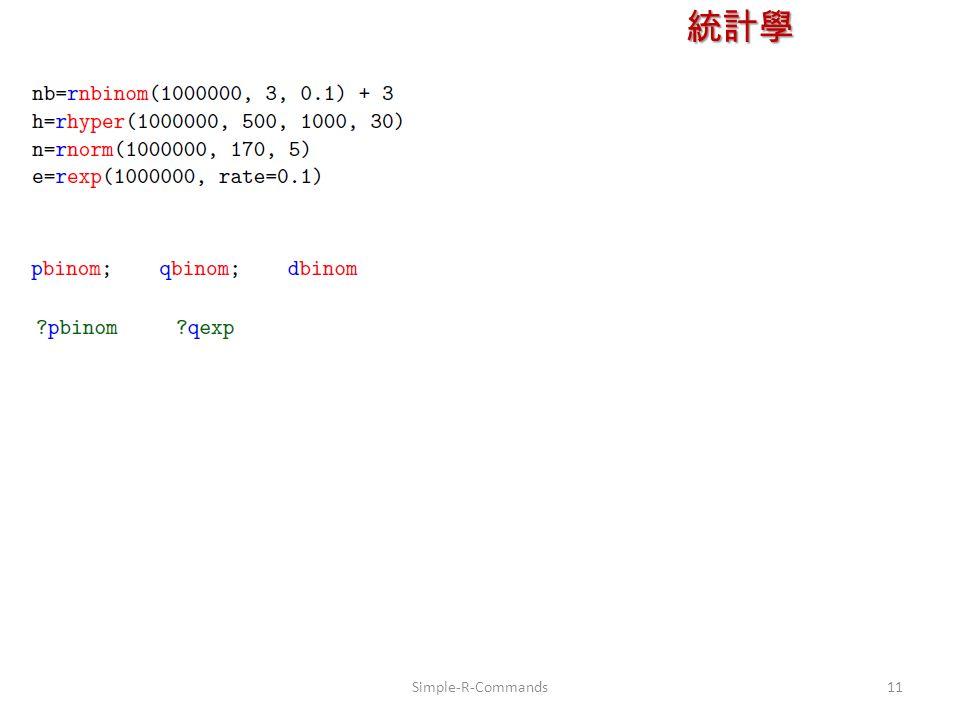 統計學 授課教師:楊維寧 11Simple-R-Commands