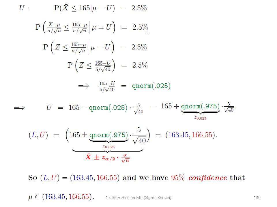 13017-Inference on Mu (Sigma Known)