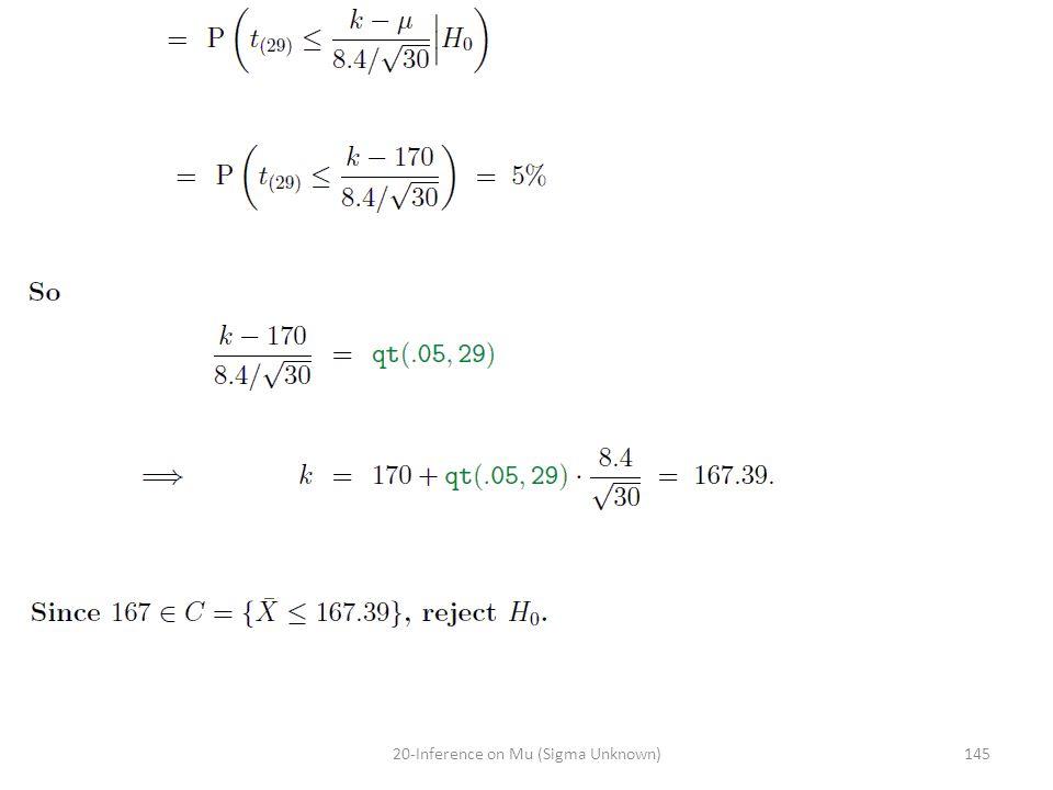 14520-Inference on Mu (Sigma Unknown)