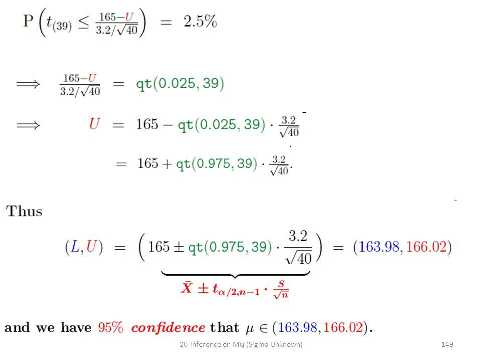 14920-Inference on Mu (Sigma Unknown)