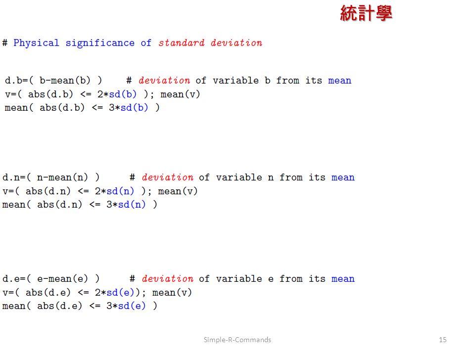 統計學 授課教師:楊維寧 15Simple-R-Commands