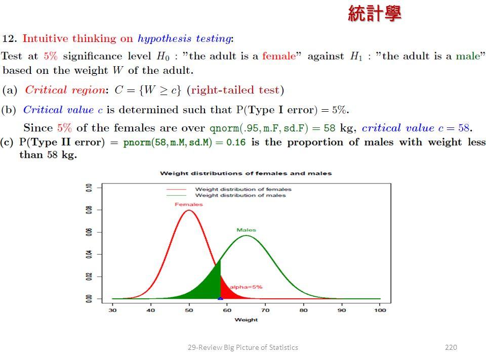 統計學 授課教師:楊維寧 22029-Review Big Picture of Statistics