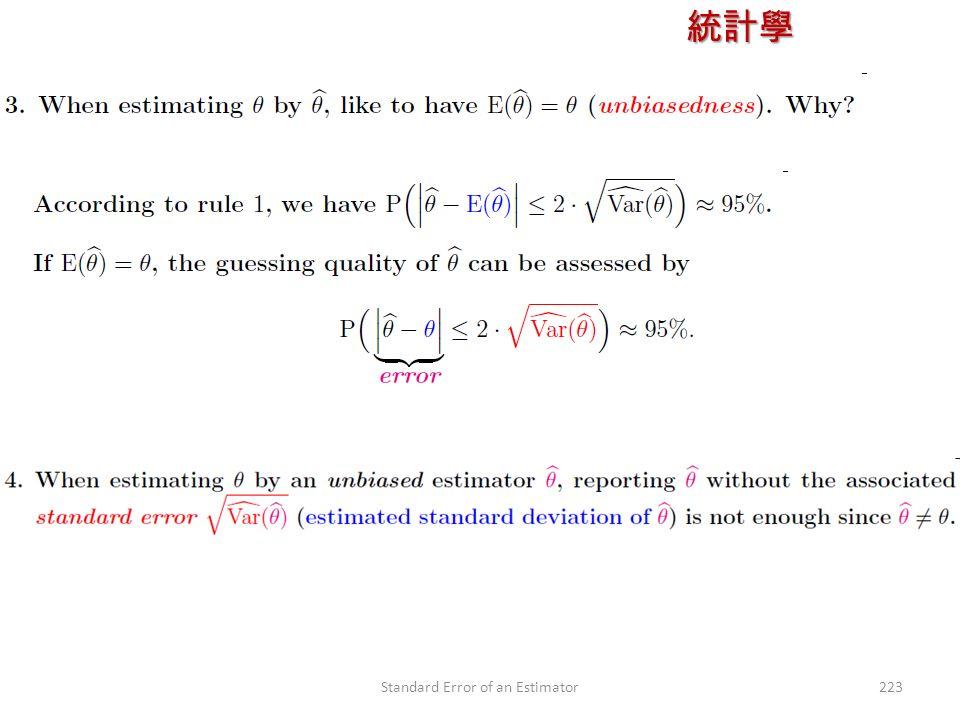 統計學 授課教師:楊維寧 223Standard Error of an Estimator