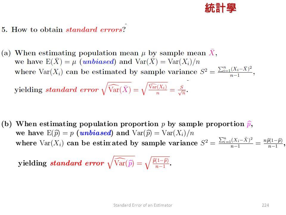 統計學 授課教師:楊維寧 224Standard Error of an Estimator