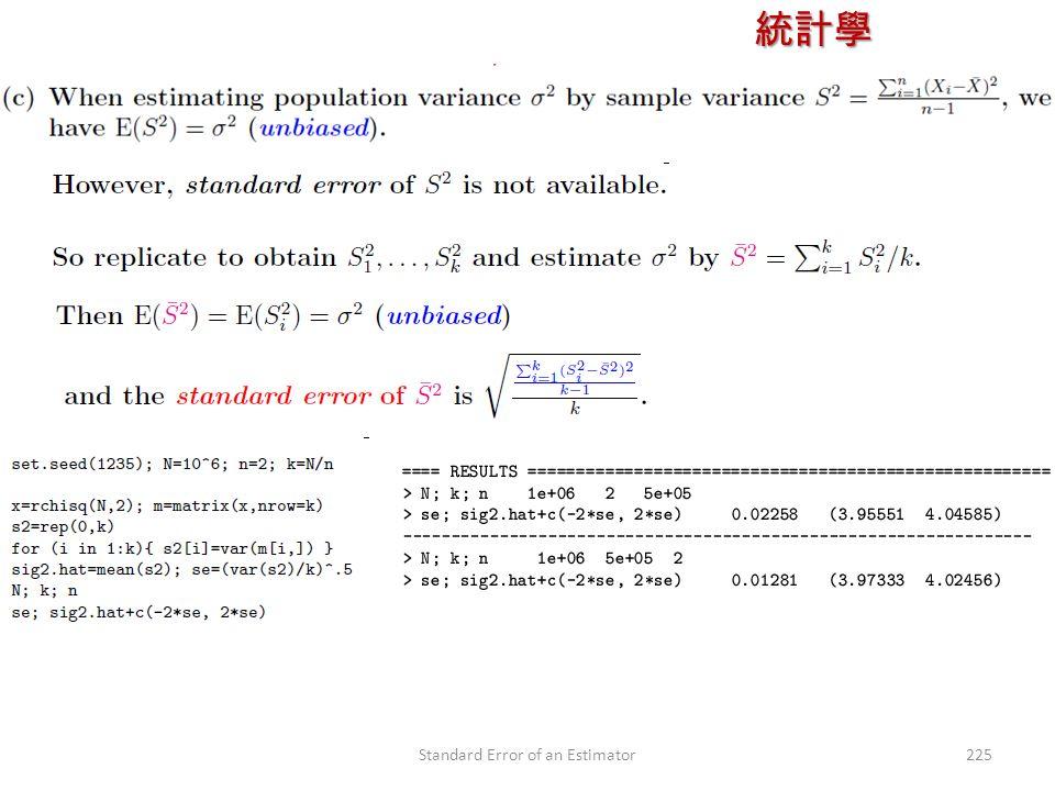 統計學 授課教師:楊維寧 225Standard Error of an Estimator
