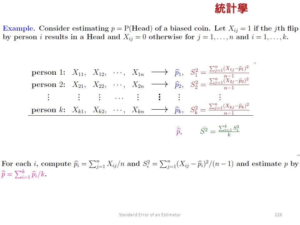 統計學 授課教師:楊維寧 226Standard Error of an Estimator