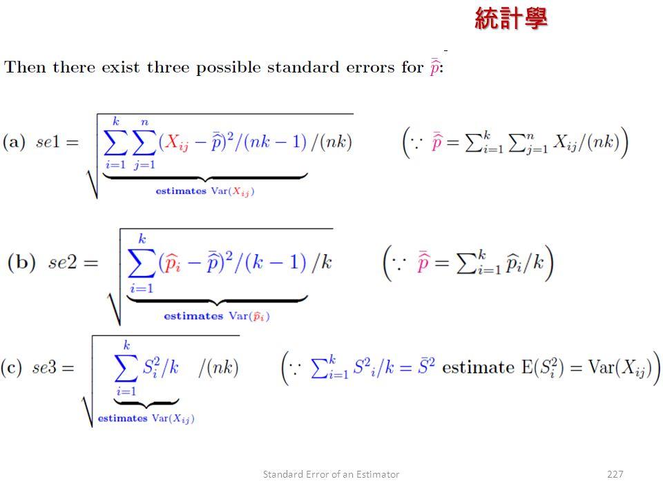統計學 授課教師:楊維寧 227Standard Error of an Estimator
