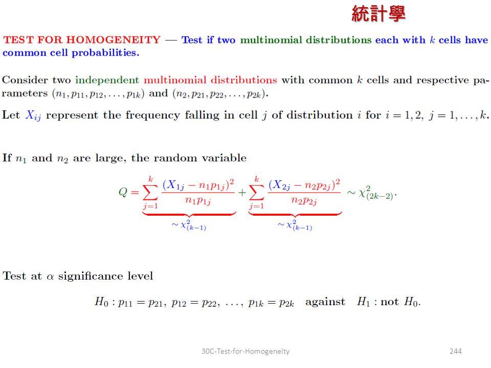 統計學 授課教師:楊維寧 24430C-Test-for-Homogeneity