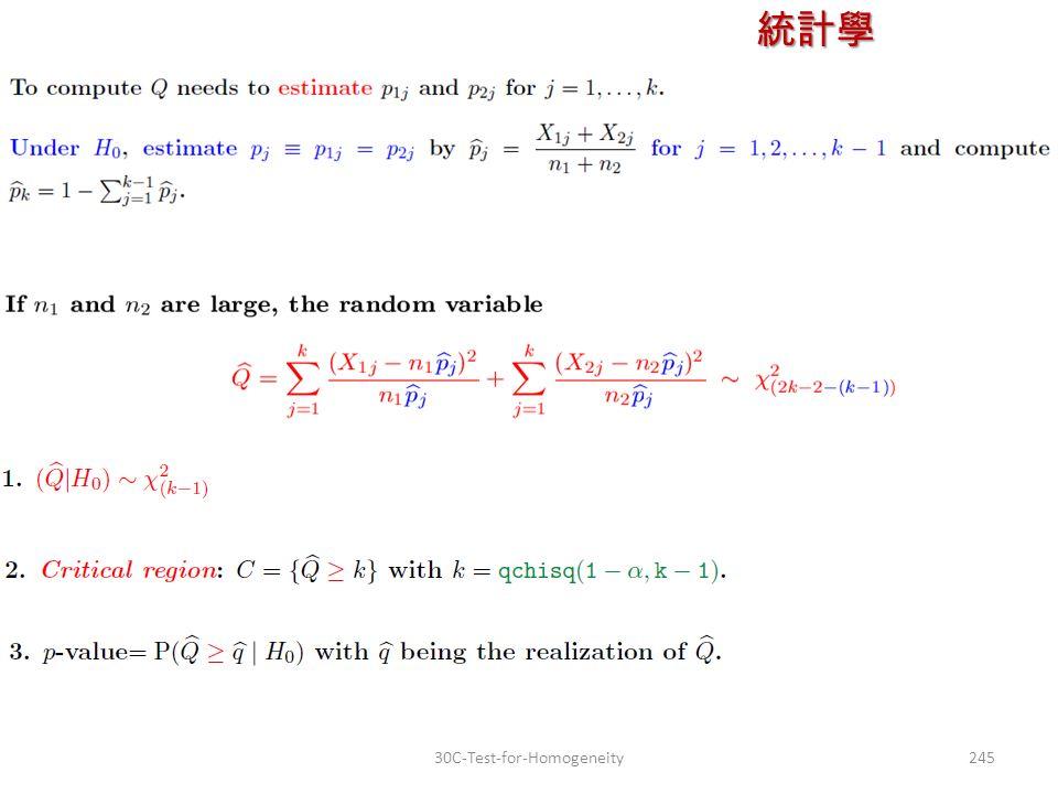 統計學 授課教師:楊維寧 24530C-Test-for-Homogeneity
