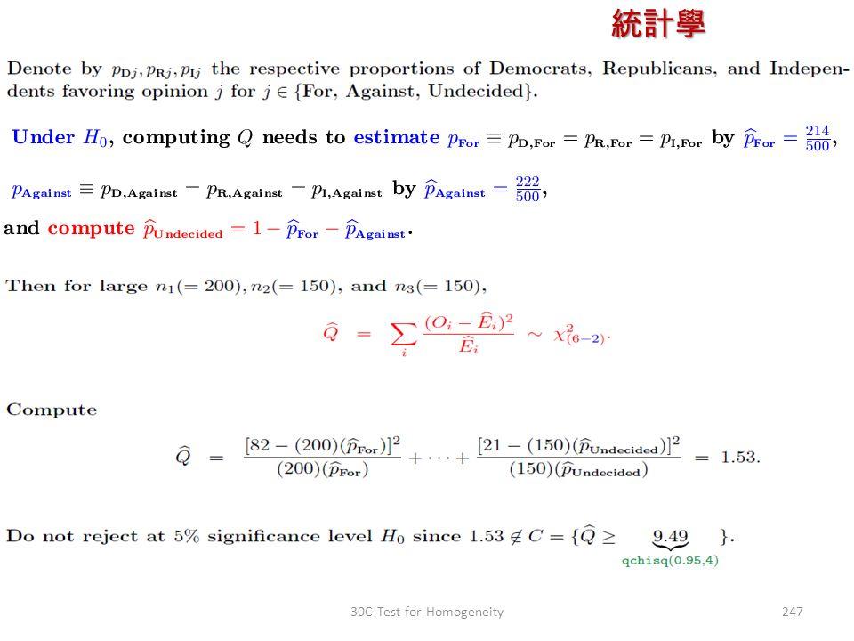 統計學 授課教師:楊維寧 24730C-Test-for-Homogeneity