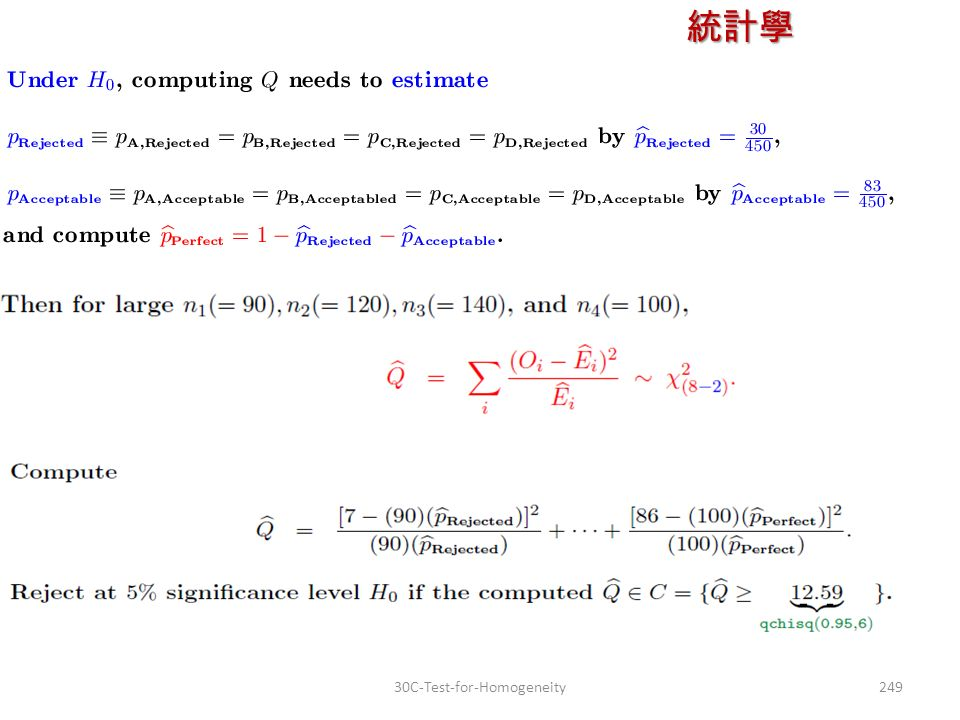 統計學 授課教師:楊維寧 24930C-Test-for-Homogeneity