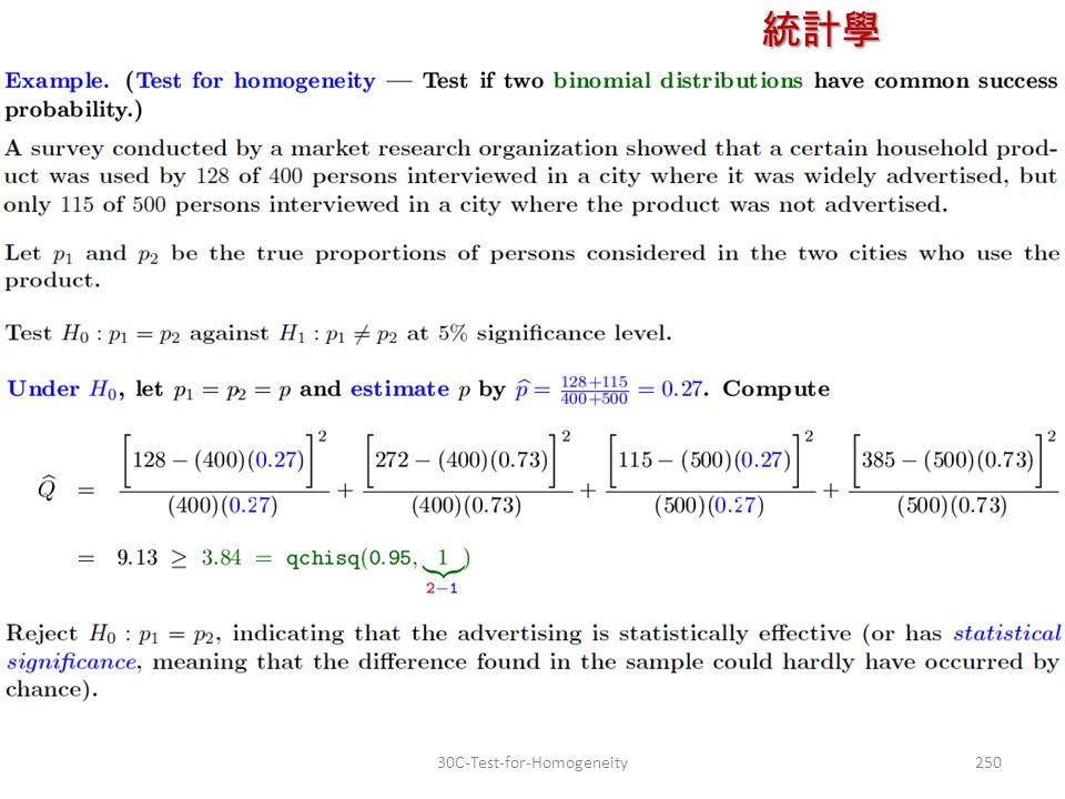 統計學 授課教師:楊維寧 25030C-Test-for-Homogeneity