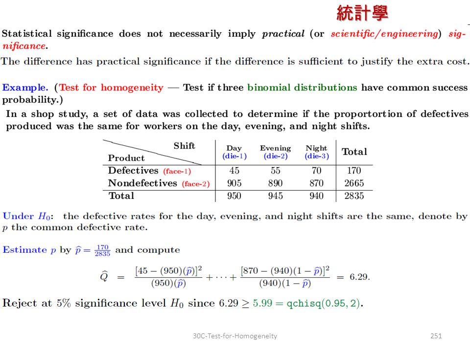 統計學 授課教師:楊維寧 25130C-Test-for-Homogeneity