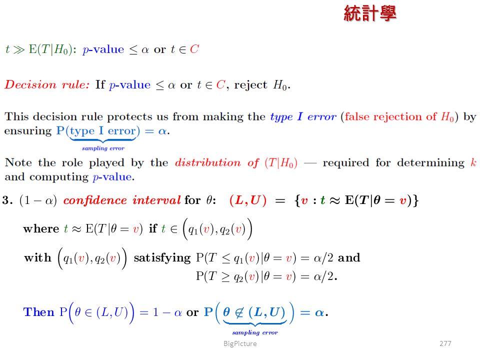 統計學 授課教師:楊維寧 277BigPicture
