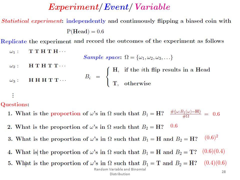 28 Random Variable and Binomial Distribution