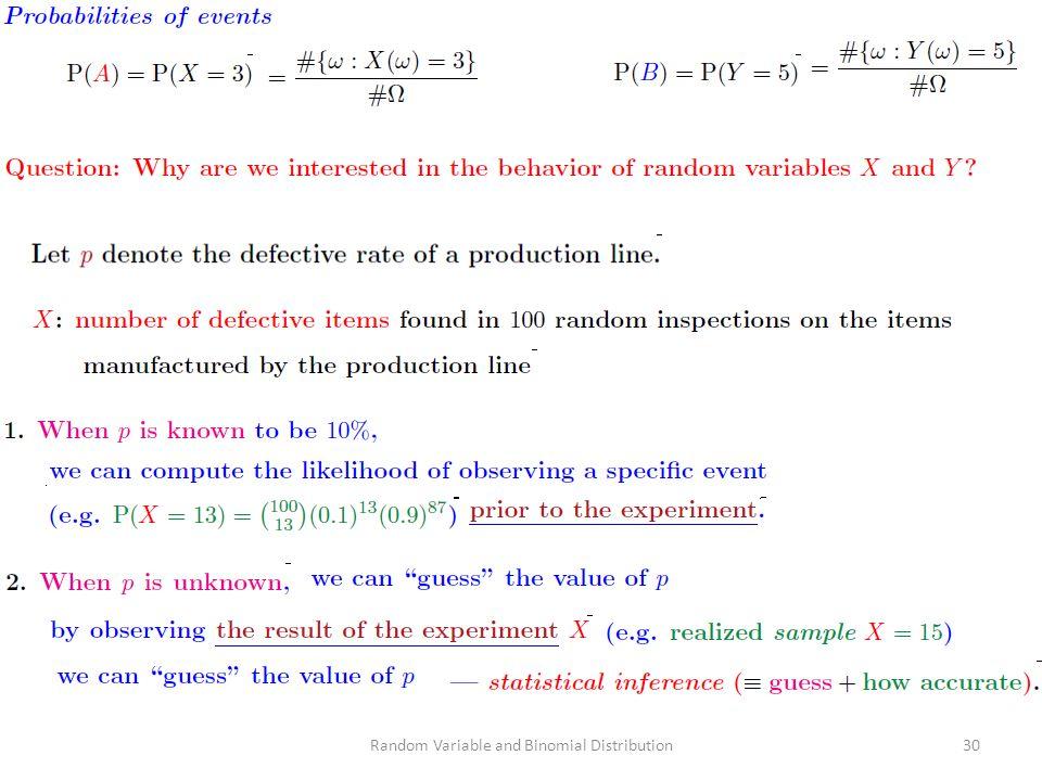 Random Variable and Binomial Distribution30