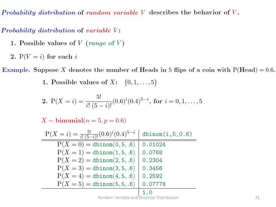 Random Variable and Binomial Distribution31