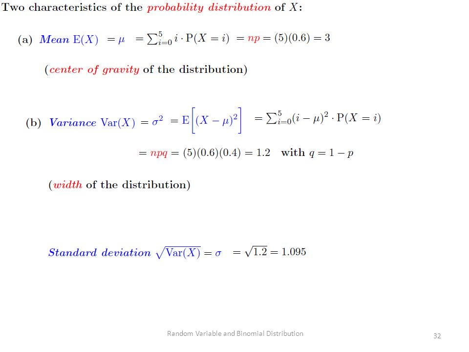 Random Variable and Binomial Distribution 32